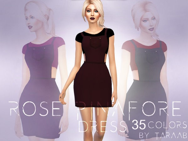 Rose Pinafore Dress by taraab at TSR image 278 Sims 4 Updates