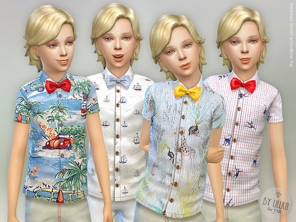 Printed Shirt with Bow Tie by lillka at TSR image 280 Sims 4 Updates