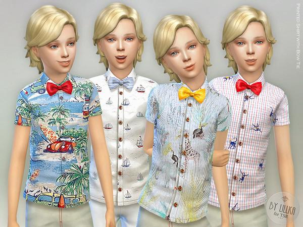 Sims 4 Printed Shirt with Bow Tie by lillka at TSR
