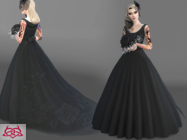 Sims 4 Wedding Set 2 dress + bouquet by Colores Urbanos at TSR