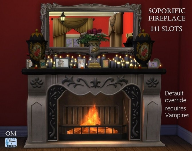 Sims 4 Soporific fireplace with 141 slots by OM at Sims 4 Studio