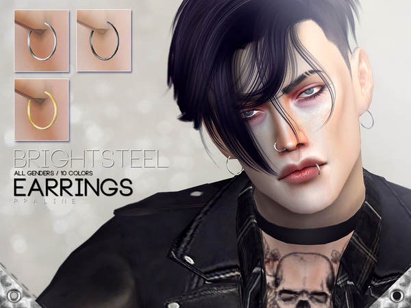 Sims 4 Brightsteel Earrings by Pralinesims at TSR