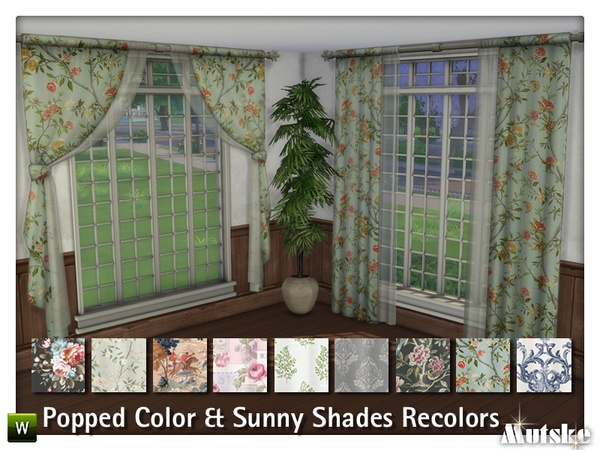 Sims 4 Popped Colors & Sunny Shade Curtain Recolors by mutske at TSR