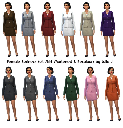 Sims 4 Female Business Suit Skirt Shortened & Recolours at Julietoon – Julie J