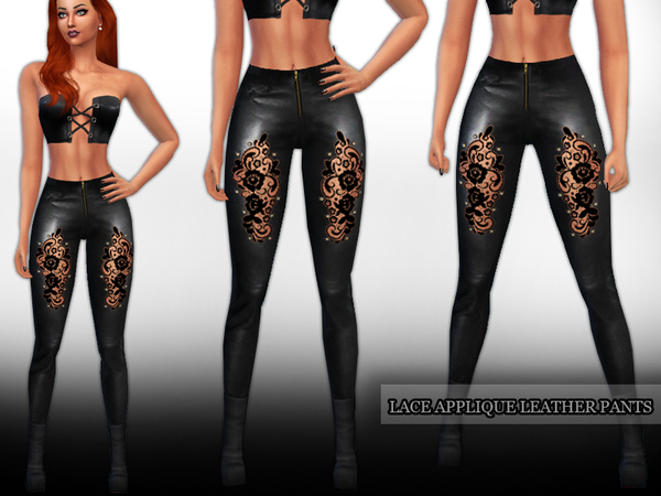 Lace Applique Leather Pants by Saliwa at TSR image 385 Sims 4 Updates