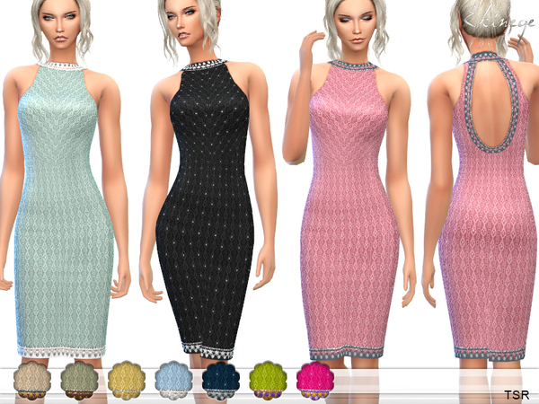 Midi Dress With Open Back by ekinege at TSR image 4015 Sims 4 Updates