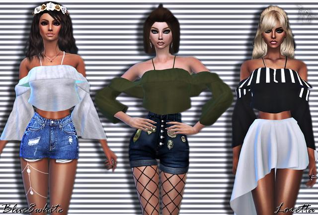 LORETTA OFF SHOULDER BLOUSE at Blue8white image 4031 Sims 4 Updates
