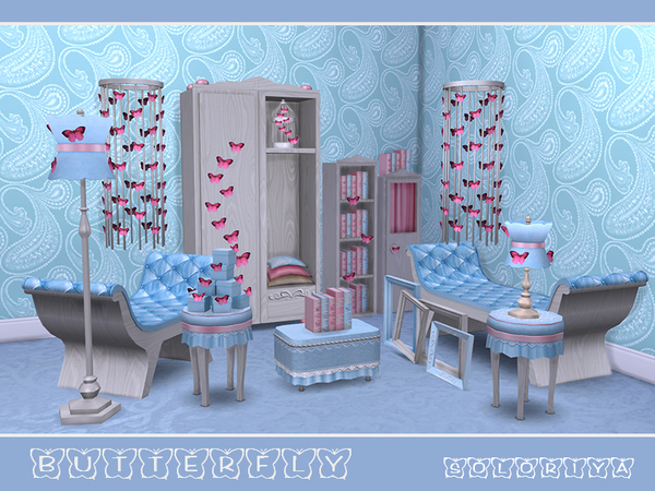 Butterflies living set by soloriya at TSR image 4212 Sims 4 Updates