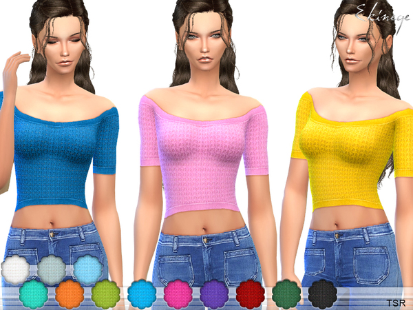 Sims 4 Knit Crop Top by ekinege at TSR