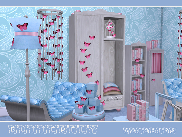 Butterflies living set by soloriya at TSR image 4310 Sims 4 Updates