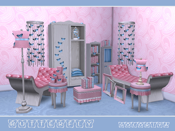 Butterflies living set by soloriya at TSR image 4410 Sims 4 Updates