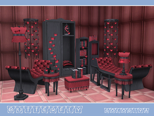 Butterflies living set by soloriya at TSR image 4510 Sims 4 Updates