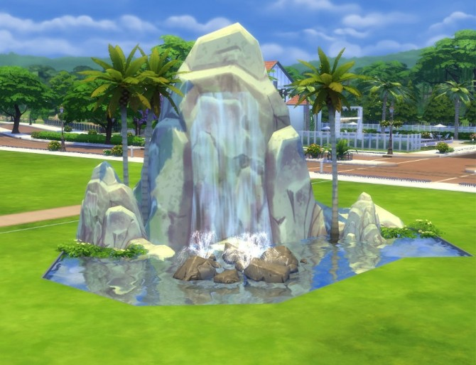 Sims 4 Pinnacle Rock and Waterfall by Snowhaze at Mod The Sims