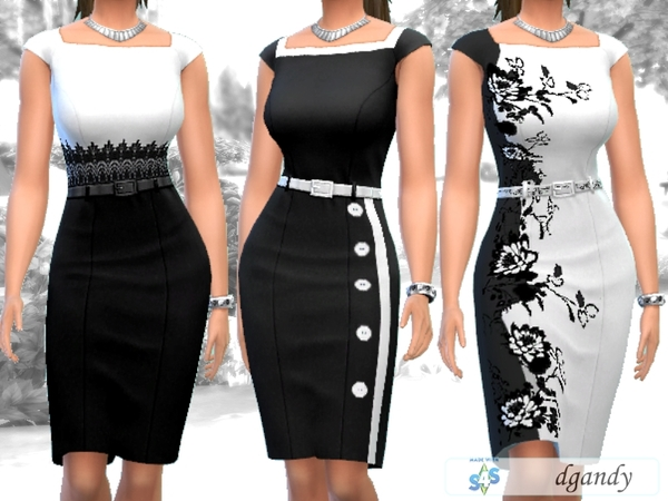 Sims 4 Black and White Pencil Dress by dgandy at TSR