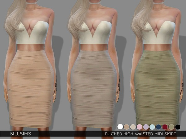 Sims 4 Ruched High Waisted Midi Skirt by Bill Sims at TSR