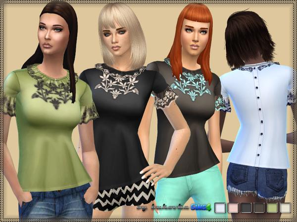 Sims 4 Blouse & Frills by bukovka at TSR