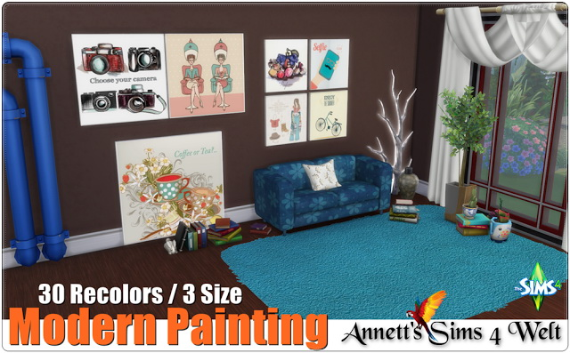 Modern Painting 3 Size & 30 Recolors at Annett's Sims 4 Welt image 544 Sims 4 Updates