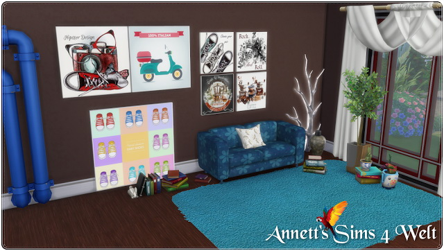 Modern Painting 3 Size & 30 Recolors at Annett's Sims 4 Welt image 554 Sims 4 Updates