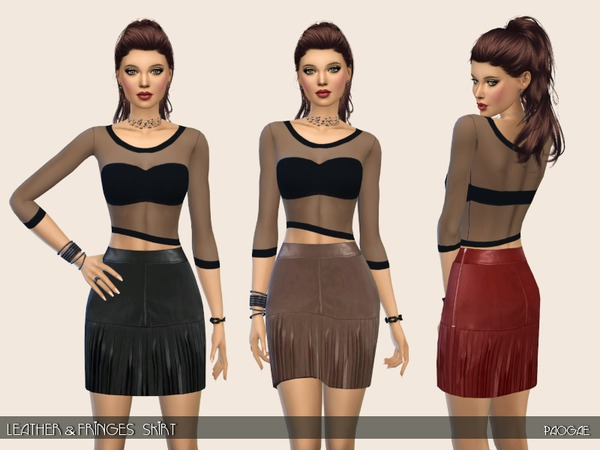 Sims 4 Leather&Fringes Skirt by Paogae at TSR