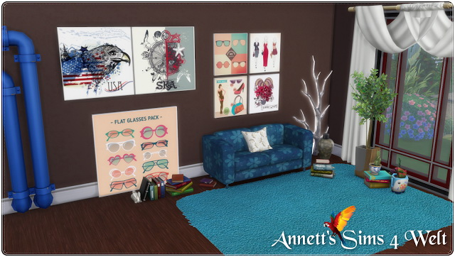 Modern Painting 3 Size & 30 Recolors at Annett's Sims 4 Welt image 564 Sims 4 Updates
