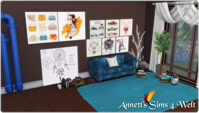 Modern Painting 3 Size & 30 Recolors at Annett's Sims 4 Welt image 574 Sims 4 Updates