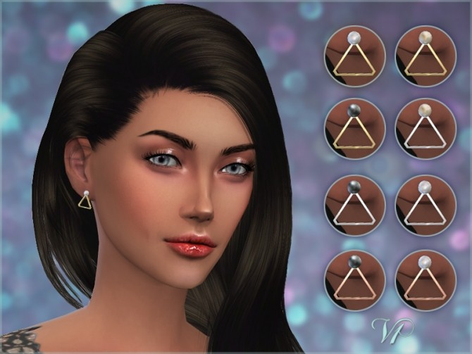 Sims 4 Triangle Pearl Earrings V1 at Giulietta