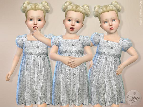 Sims 4 Gray Toddler Dress by lillka at TSR