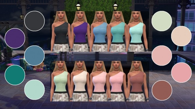 One shoulder top by cowplant simmer at Mod The Sims image 685 670x377 Sims 4 Updates