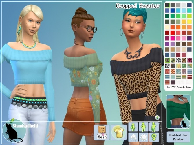 Sims 4 Recolors of Bluebells cropped sweater by Standardheld at SimsWorkshop