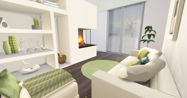 Sims 4 Green Livingroom and Kitchen at Liney Sims