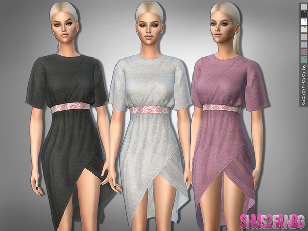 Sims 4 323 Boho Dress With Belt by sims2fanbg at TSR