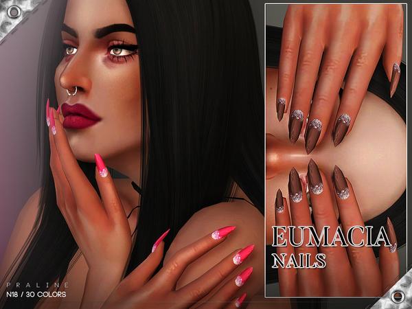 Sims 4 Eumacia Nails N18 by Pralinesims at TSR