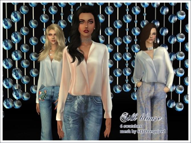Silk Blouse Retexture By Feyona At Sims 4 Studio 187 Sims 4