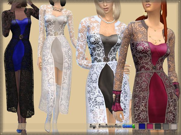 Sims 4 Dress Lace Cloak by bukovka at TSR