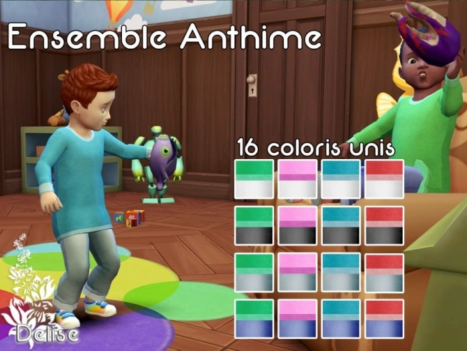 Sims 4 Anthime toddler outfits plain by Delise at Sims Artists