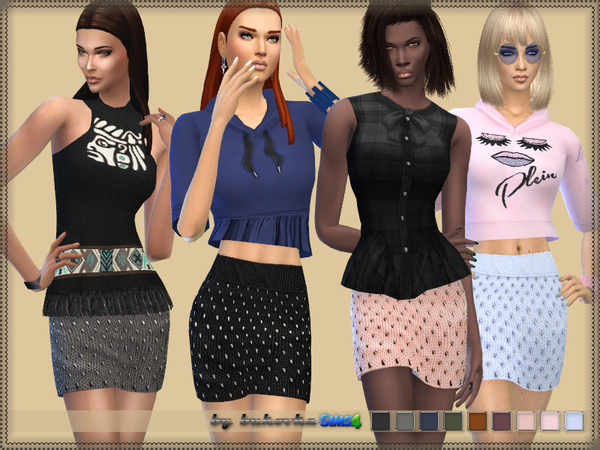 Sims 4 Leather Short Skirt by bukovka at TSR