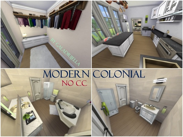 Sims 4 Modern Colonial House by galadrijella at TSR
