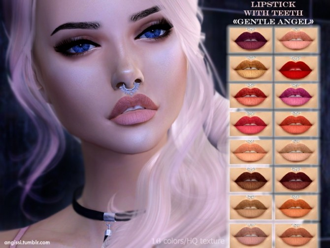 Lipstick with teeth Gentle angel at Angissi image 848 670x503 Sims 4 Updates