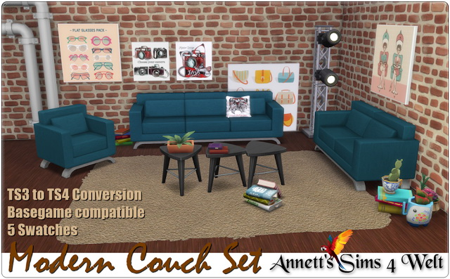 Sims 4 Modern Couch Set TS3 to TS4 Conversion at Annett's Sims 4 Welt