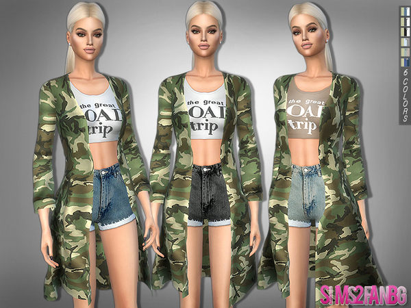Sims 4 324 Spring Outfit With Camouflage Coat by sims2fanbg at TSR