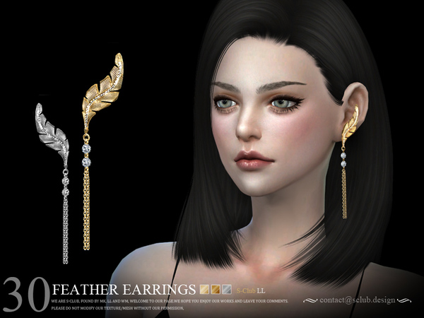 Earrings N30 by S Club LL at TSR image 928 Sims 4 Updates