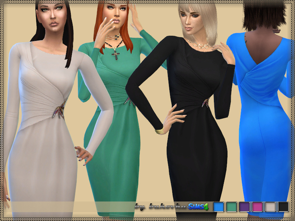 Sims 4 Dress Jersey Draping by bukovka at TSR