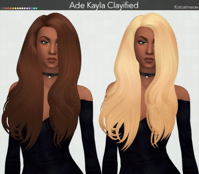 Sims 4 Ade Kayla Hair Clayified at KotCatMeow