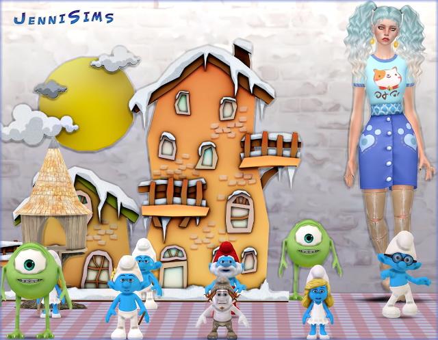 Sims 4 Set Vol 52 Decoratives Smurfs World, Monsters, Inc (9 Items) at Jenni Sims