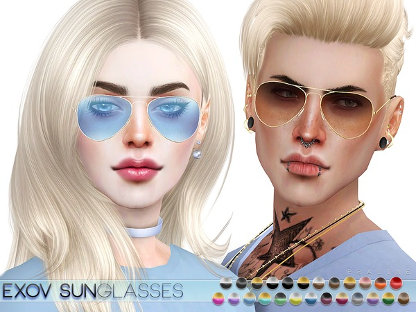 Sims 4 EXOV Sunglasses by Pralinesims at TSR