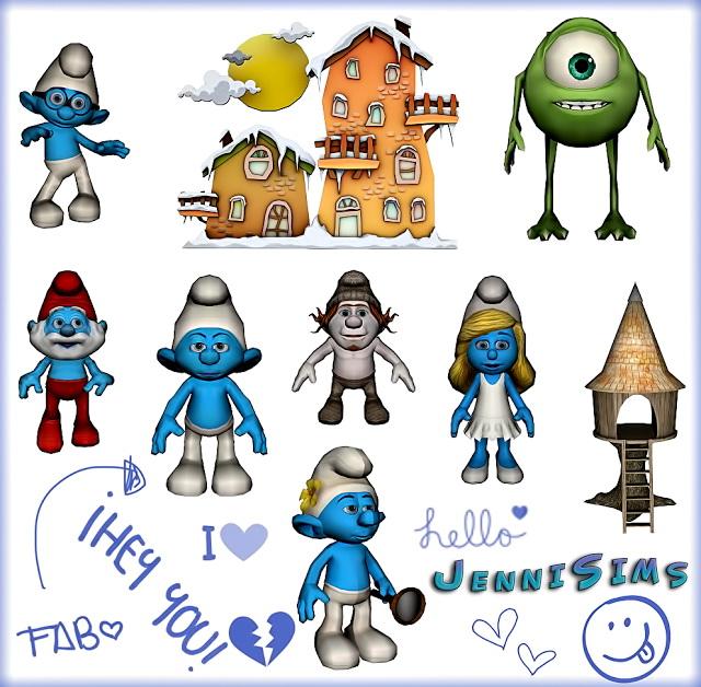 Set Vol 52 Decoratives Smurfs World, Monsters, Inc (9 Items) at Jenni Sims image 1019 Sims 4 Updates