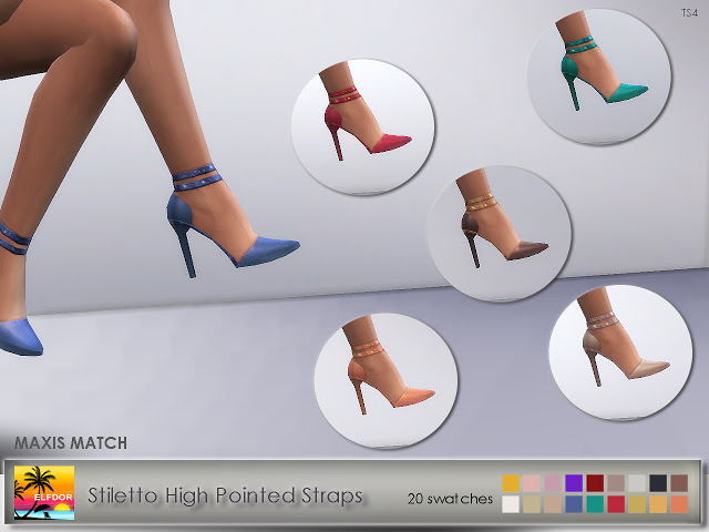 Stiletto High Pointed Straps at Elfdor Sims image 1059 Sims 4 Updates