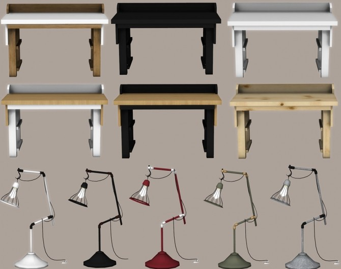 Sims 4 Sund Desk and Cage Lamp at Leo Sims