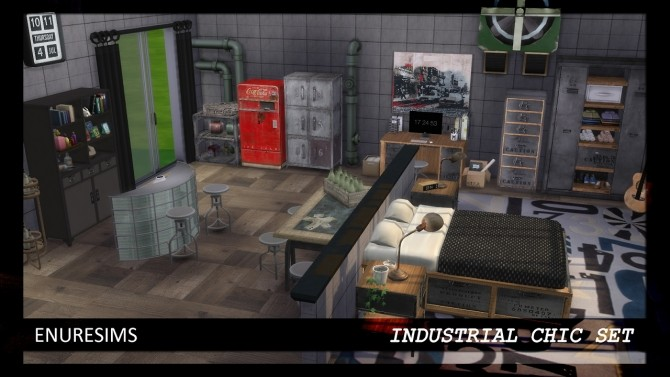Sims 4 Industrial Chic Set at Enure Sims