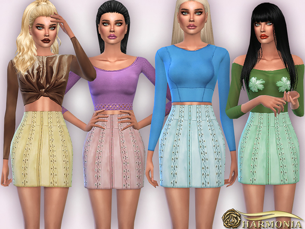 Sims 4 Lace up Panels Suede Mini Skirt by Harmonia at TSR